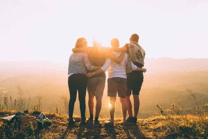 backlit dawn foggy friendship